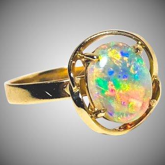 Vintage natural opal ring gold