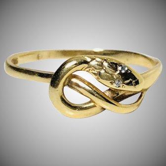 Vintage snake ring diamond eyes gold