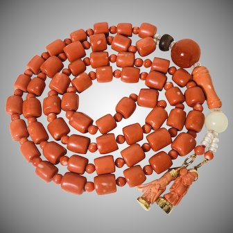 199 Gram natural coral necklace with other rare beads and gold coral pendants pray beads