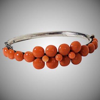 Antique old natural coral bracelet bangle