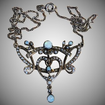 Rare antique Opal Seed Pearl Necklace