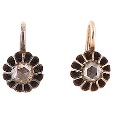 Antique 14k Rose gold Rose Cut Diamond Earrings
