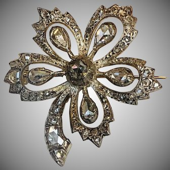 Antique 1 Ct Rose Cut Diamond  Brooch Pin