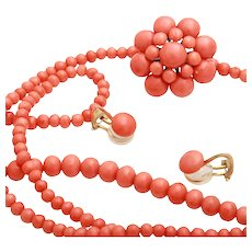 Antique natural coral necklace coral earring Pin brooch