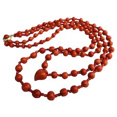 Antique natural coral necklace faceted coral beads