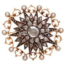 RARE Rose cut diamond seed pearl antique brooch pin pendant gold