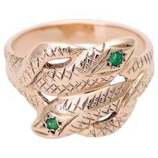 Antique emerald snake ring Gold