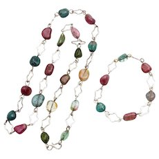 Antique natural Turmaline set necklace bracelet silver
