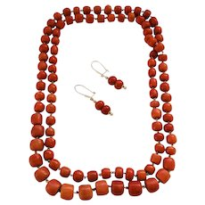 185 Gram Antique natural old coral necklace earrings set complete in 14k gold