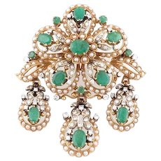 18k Gold rare large pendant brooch pin pearl diamond emerald