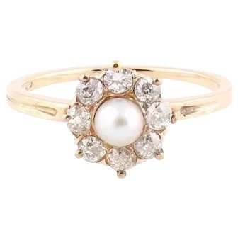 Art deco diamond ring natural pearl gold