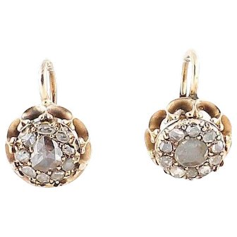 Antique 0.8ct rose cut diamond earrings Gold