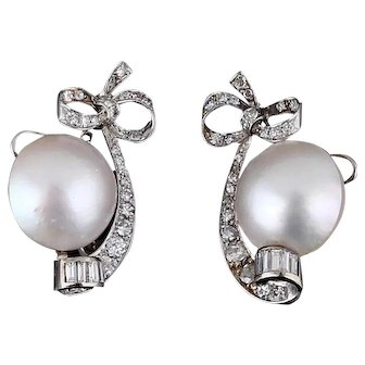 Very fine 2ct old diamond earrings platinum cultured pearl