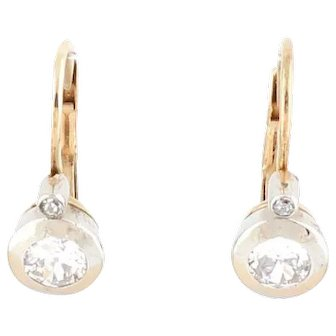 Antique old cut diamond earrings white gold yellow gold