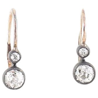 Antique old cut diamond earrings Gold