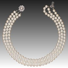 Cultured pearl beads necklace diamonds gold clasp 0.8 CT
