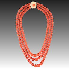 173 gram antique Natural Coral bead Coral Necklace