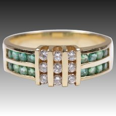 Vintage diamond emerald ring