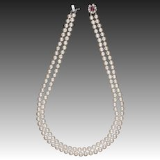 7.5mm-8mm Cultured pearl Necklace diamond ruby gold