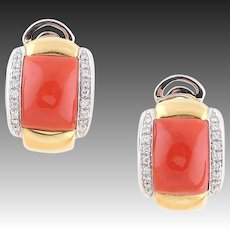19 Gram natural coral earrings ear clips diamonds gold