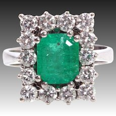 Vintage 1ct diamond emerald ring