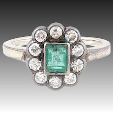 Antique diamond emerald ring Gold 14k