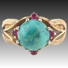 Vintage Ruby turquoise ring Gold 14k