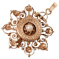 14K rose gold pendant with genuine pearl