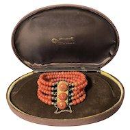 Victorian natural deep salmon coral bracelet 14k gold