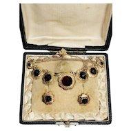 Victorian bohemian garnet necklace earrings set gold
