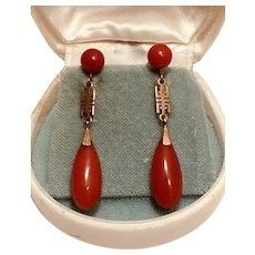 18k Natural Oxblood red AKA coral earrings ear clips