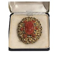 Rare Large Brooch With Natural Coral Cameo And Coral Bead