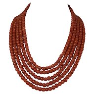 Natural Blood red coral bead Necklace 14k yellow gold clasp