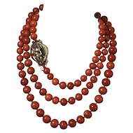 173.5 Gram antique Old Natural Red coral bead coral necklace