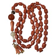 199 Gram natural coral necklace with other rare beads and gold coral pendants