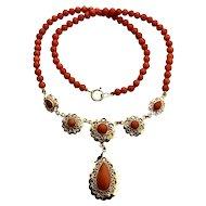 Antique Natural coral Necklace 14k gold