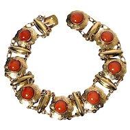14k gold Antique Natural coral bracelet 17.17 gram