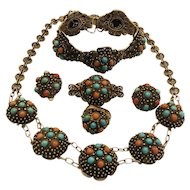 antique Chinese Sterling silver Necklace Bracelet Set Natural Coral Turquoise