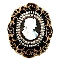 Huge Victorian pendant brooch gold pearls agate cameo