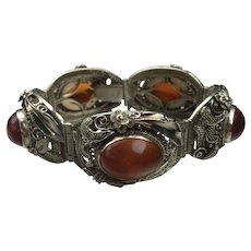 Antique China early 20th export Sterling silver amber bracelet