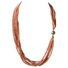 53 Gram vintage genuine natural angel skin coral necklace