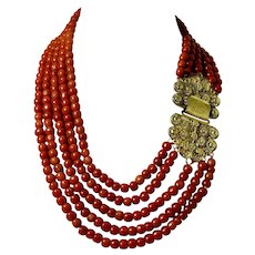 Antique old natural red coral bead large 14k yellow gold clasp