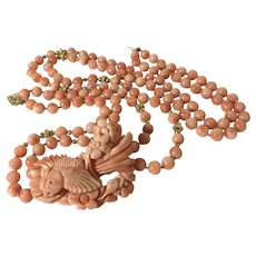 Natural angel skin coral necklace 14k yellow gold