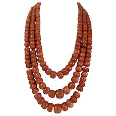 Large antique natural deep salmon red coral bead coral necklace gold 247 gram