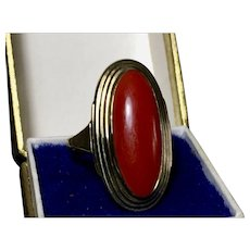 Natural blood red genuine aka coral ring 8k yellow gold 3.67 gr.