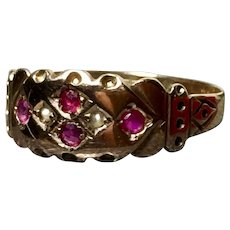 SALE Victorian antique 9k gold ring ruby seed pearls