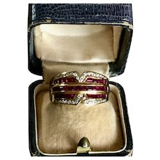 18k Yellow gold ring diamond ruby
