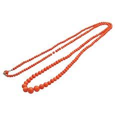 Antique victorian natural salmon coral necklace 26 Gram