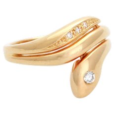 18k Yellow gold snake ring with diamond