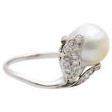 Barock Pearl ring white gold 750